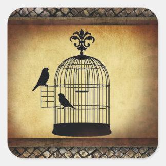 ヴィンテージの鳥かごのスタンプ スクエアシール
