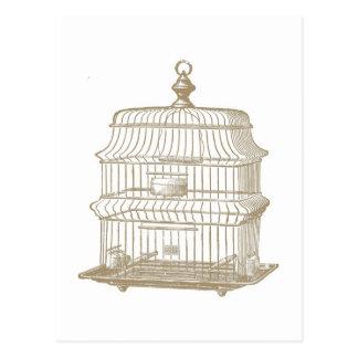 ヴィンテージの鳥かごの…郵便はがき ポストカード