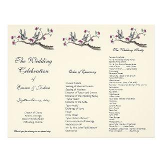 ヴィンテージの鳥のピンクの花の三重結婚式プログラム レターヘッド