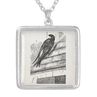 ヴィンテージの鳥の家マーティンのつばめのレトロの鳥 シルバープレートネックレス