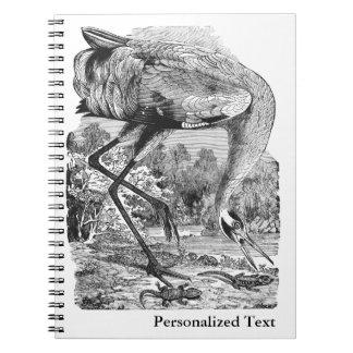 ヴィンテージの鳥の絵| BW |のアメリカシロヅル ノートブック