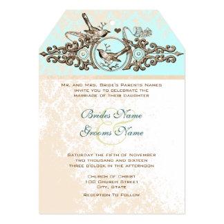 ヴィンテージの鳥の青銅色の鉄の仕事の結婚式招待状 カード