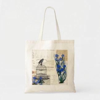 ヴィンテージの鳥の鳥かごの青い花のフランス人のバッグ トートバッグ