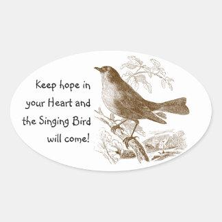 ヴィンテージの鳥はあなたのハートの楕円形のステッカーの希望を保ちます 楕円形シール