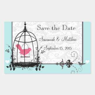 ヴィンテージの鳥籠音楽的な愛鳥の結婚式 長方形シール