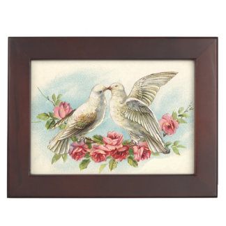 ヴィンテージの鳩のカスタムな結婚式の記念品箱 ジュエリーボックス