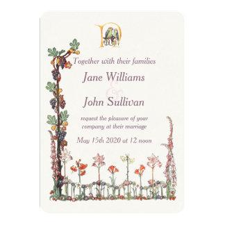 ヴィンテージの鳴き鳥の花の結婚式招待状 カード