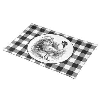 ヴィンテージの鶏の白黒の点検のランチョンマットの布 ランチョンマット