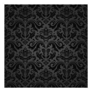 ヴィンテージの黒いダマスク織パターンプリントのデザイン フォトプリント