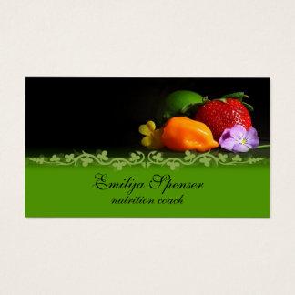 ヴィンテージの黒い及び緑の健康な生命または栄養物カード 名刺