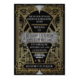 ヴィンテージの黒い銀製のアールデコの結婚式招待状 カード
