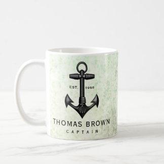 ヴィンテージの黒い鋳鉄のいかりの航海のな船遊び コーヒーマグカップ
