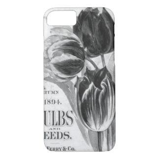 ヴィンテージの黒く及び白いチューリップのiPhone 7の箱 iPhone 8/7ケース