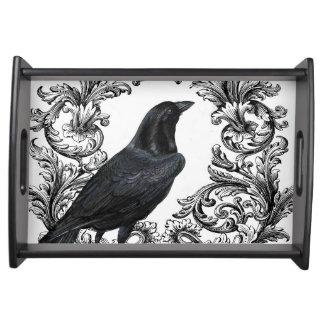 ヴィンテージの黒のハロウィンのモダンなカラス トレー