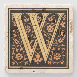 ヴィンテージの黒及び金ゴールドの手紙の` W」 ストーンコースター