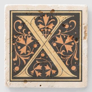 ヴィンテージの黒及び金ゴールドの手紙の` X」 ストーンコースター