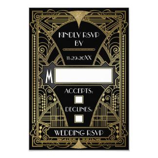 ヴィンテージの黒及びRSVPカードを結婚する金ゴールドのアールデコ カード