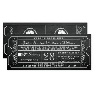 ヴィンテージの黒板のチケットの結婚式のリハーサルの夕食 カード