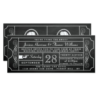ヴィンテージの黒板のチケットの結婚式のリハーサルの夕食 10.2 X 23.5 インビテーションカード