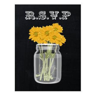 ヴィンテージの黒板のメーソンジャーの花柄のrsvp ポストカード