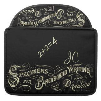 ヴィンテージの黒板の執筆スケッチ-折り返しのバッグ MacBook PROスリーブ