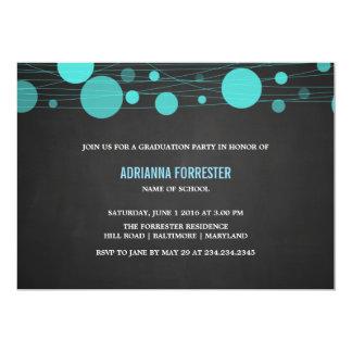ヴィンテージの黒板の青いランタンの卒業パーティー 12.7 X 17.8 インビテーションカード