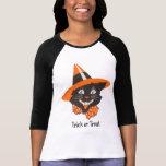 ヴィンテージの黒猫のハロウィンのワイシャツ T-シャツ