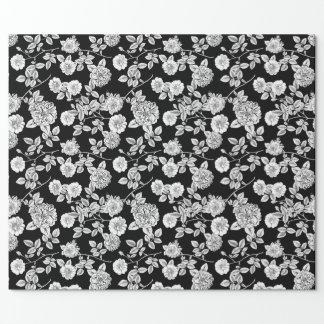 ヴィンテージの黒 の白の花模様DIYの背景 ラッピングペーパー