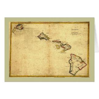 ヴィンテージの1837年ハワイの地図-ハワイ諸島の カード