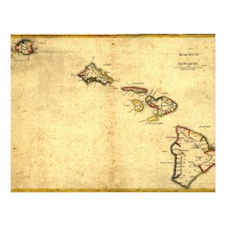 ヴィンテージの1837年ハワイの地図-ハワイ諸島の チラシ