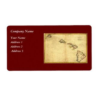 ヴィンテージの1837年ハワイの地図-ハワイ諸島の ラベル