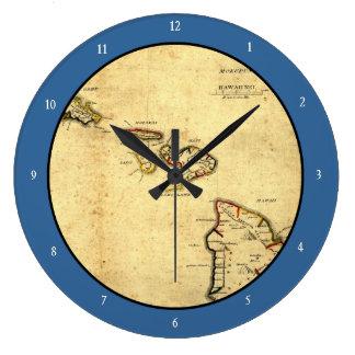 ヴィンテージの1837年ハワイの地図-ハワイ諸島の ラージ壁時計