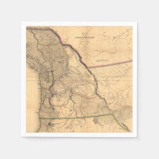 ヴィンテージの1841年のオレゴンの太平洋の北西地図 スタンダードカクテルナプキン