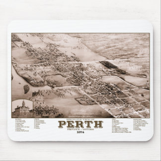 ヴィンテージの1874年のパースの地図 マウスパッド