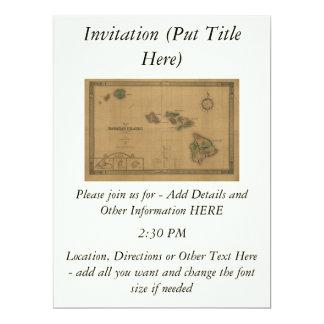 ヴィンテージの1876年ハワイの地図-ハワイ諸島の カード