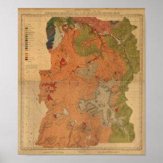 ヴィンテージの1878年イエローストーン公園の地図、ワイオミング、Montanの ポスター