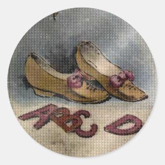 ヴィンテージの1885年の糖菓2の靴ABCのおもしろいのステッカー ラウンドシール