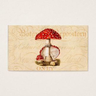 ヴィンテージの19世紀のきのこの赤のきのこのテンプレート 名刺