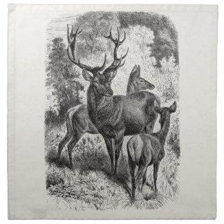 ヴィンテージの19世紀のアカシカのイラストレーションの雄鹿の雌ジカの子鹿 ナプキンクロス