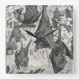 ヴィンテージの19世紀のオオコウモリのこうもりのレトロのテンプレートは打ちます スクエア壁時計