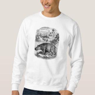 ヴィンテージの19世紀のカバwのベビーのレトロのカバのテンプレート スウェットシャツ