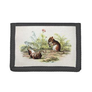 ヴィンテージの19世紀のカヤネズミのイラストレーションのネズミ ナイロン三つ折りウォレット