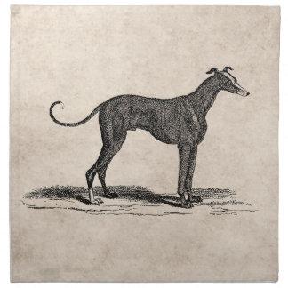 ヴィンテージの19世紀のグレイハウンド犬のイラストレーション-犬 ナプキンクロス