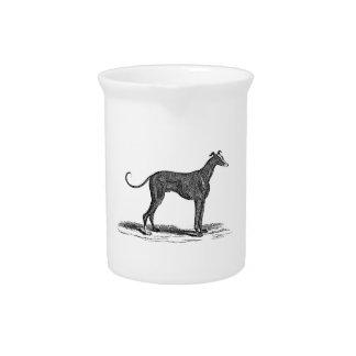 ヴィンテージの19世紀のグレイハウンド犬のイラストレーション-犬 ピッチャー