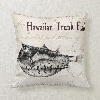 ヴィンテージの19世紀のハワイのトランクの魚のイラストレーション クッション