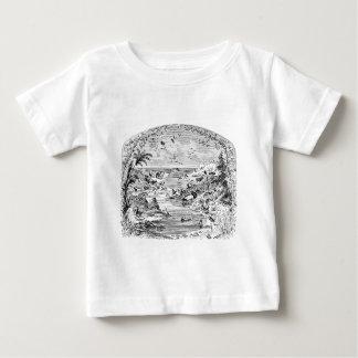 ヴィンテージの19世紀の動物の景色のイラストレーション ベビーTシャツ