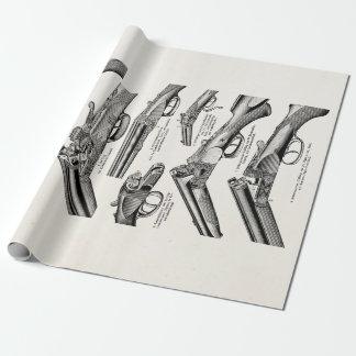 ヴィンテージの19世紀の散弾銃の旧式な打撃は古いライフルを撃ちます ラッピングペーパー