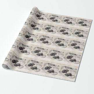 ヴィンテージの19世紀の納屋のマウスのレトロのネズミの羊皮紙 ラッピングペーパー