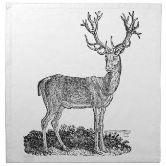 ヴィンテージの19世紀の雄鹿のシカの(雄ジカの)枝角のレトロのテンプレート ナプキンクロス