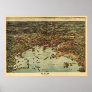 ヴィンテージの1905年のボストン眺め/地図 ポスター